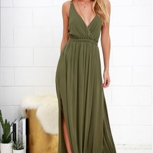Lulu's Lost In Paradise Olive Green Maxi Dress